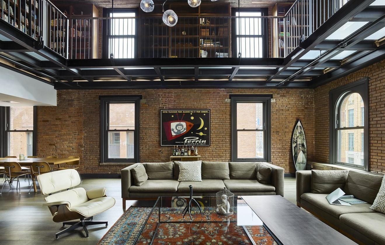 Гостиная в стиле Нью-Йорк — цвета, мебель, аксессуары